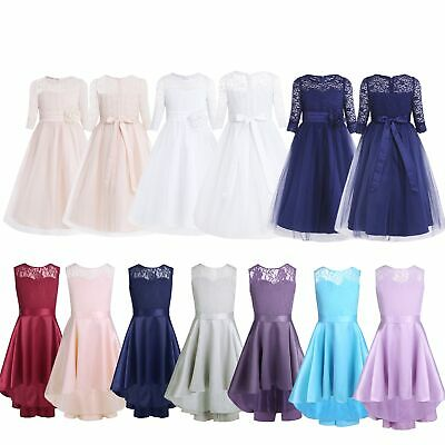 Lace Wedding Flower Girls Dress Communion Party Prom Gown Princess Pageant Dress