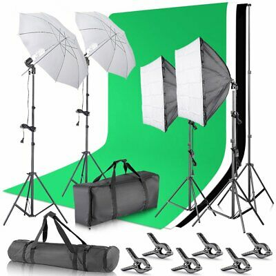 Backdrop Support System and Umbrellas Softbox Lighting Kit for Photo Studio