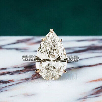 3.15 Ct Pear Cut Off White Moissanite Two Tone Gold Over Engagement Wedding Ring