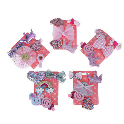 5pcs baby hair clips girl  headband bows chiffon cartoon elastic band  accessory