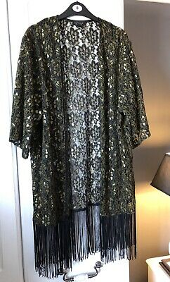4cf39a789cb2c TOPSHOP BOUTIQUE BLACK Sheer Floral Lace Fringed Bead Sequin Bolero ...