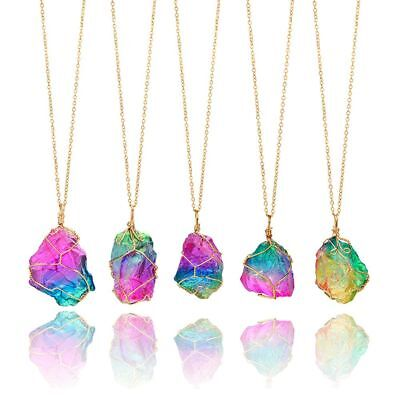 Rainbow Stone Natural Charm Crystal Chakra Necklace Gold Plated Quartz Pendant.