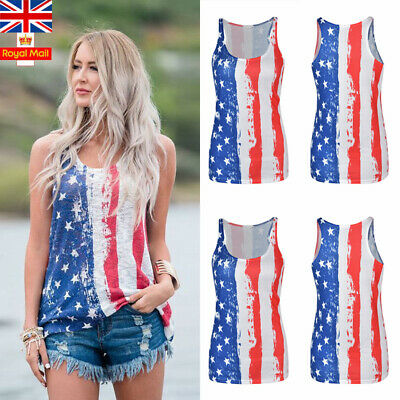 Women Flag Print Floral Vest Ladies Cami Summer Casual Loose Camisole Tank Top