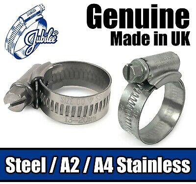 Genuine Jubilee Hose Clips Mild / A2 / A4 Stainless Steel Pipe Clamps Worm Drive