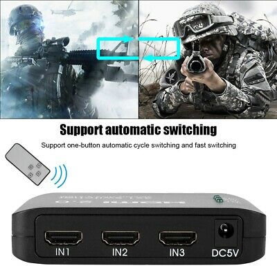 HDMI 2.0 3 In 1 Out 4K/60hz Switch Switcher Splitter Hub with Remote + USB Cable