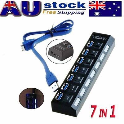 7 Port USB 3.0 HUB Powered + High Speed Splitter Extender PC AC Switch Cable AU