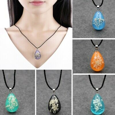 Transparent Crystal Ball Glass Dried Flower Necklace Chain Pendant Jewelry DIY