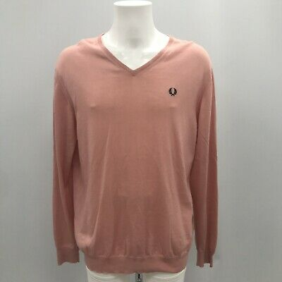 fafc7edaca20ae FRED PERRY Salmon Pink Fine Merino Wool Knit V Neck Jumper Size UK XL  TH103178