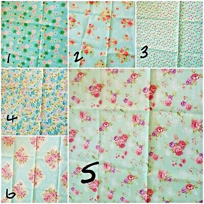 single fat quarters/ floral / green / sage green / blue / cotton/ roses