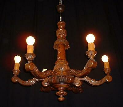 Antique French carved wood chandelier 1900's France