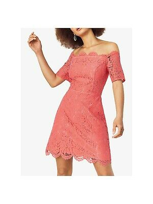 Oasis Lace Shift Midi Dress Size 12 In Coral / Pink - BRAND NEW RRP £60