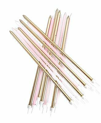 16 Extra Tall Pink & Gold Cake Candles Wedding Happy Birthday Long Decoration