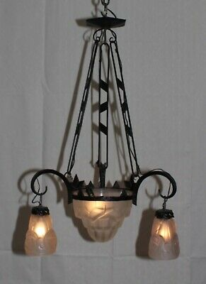 """Antique signed """"DEGUE"""" Art Deco French chandelier Wrought Iron France"""