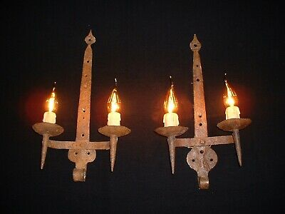 Antique large French wrought iron Gothic style sconces France