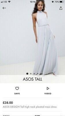 143d3ee7cd87 ASOS DESIGN Tall high neck pleated maxi dress - Grey / Pale blue UKsize 14