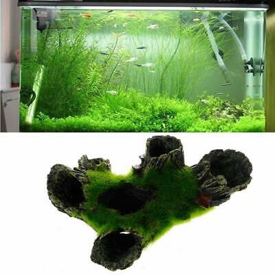 Aquarium Cave Rock with Grass for Fish Shrimp hide Fish Tank Decoration Green ×1