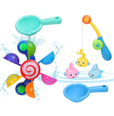 Baby Bath Toy Fishing Game Floating Fishes and Rods Windmill Gift Toy for Kids