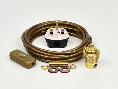 Lamp Wiring Kit Brass Bulb Holder BC B22 Fitting Flex Cable Plug & Switch