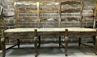 Antique Louis Xv French Provincial Beechwood LadderBack 3 seat bench lounge RARE