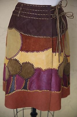 Vintage Char Skirt 70s Wrap Patchwork Whipstitched Boho Hippie Festival Leather