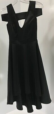 8db6fbfd7f9f Boohoo Womens Clea Bardot Strap Plunge Hi-Low Skater Dress Black US:4/