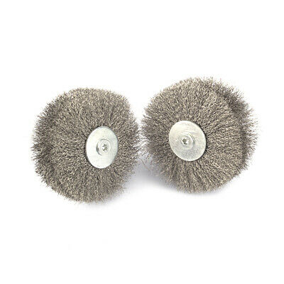 2Pc 80mm Polished Steel Wire Grinding Brush Wheel With 6mm Shank For Rotary Tool