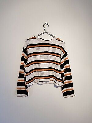 dab1b8dd459 Topshop Size 10 Petite Jumper Top Crop Top Striped knitted t shirt