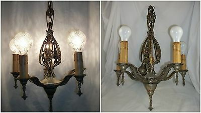 Antique 1920's Art Deco Chandelier Vtg Polychrome Ceiling Nouveau Light Fixture