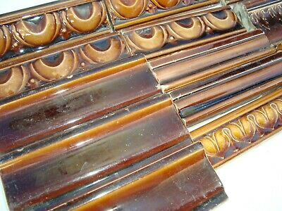Brown high relief lot 13 assorted bullnose border tiles Art Nouveau Majolica