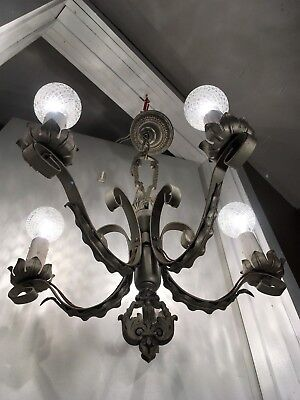 Antique 1920s Spanish Revival Chandelier Wrought Iron Arts Crafts Light Fixture