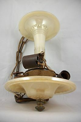 Vtg 1920s Art Deco Chandelier Custard Glass Ceiling Pendant Light Fixture Shade