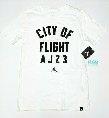 a48c16b3475 Nike Air Jordan Retro City Of Flight AJ23 T-Shirt White Black 913019-106