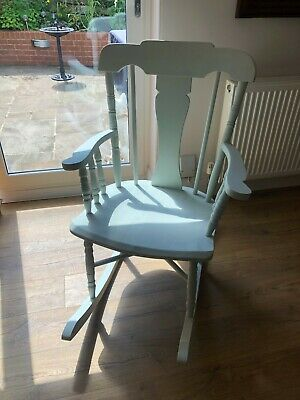 Rocking Chair in hardwood, painted shabby chic pale green solid chair.