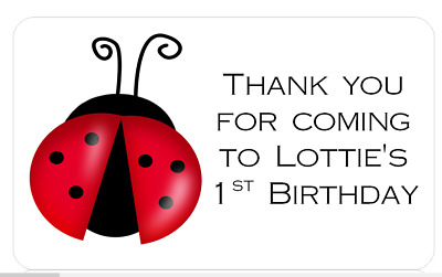 PERSONALISED PARTY BAG CONE FAVOUR ADDRESS LABEL STICKERS LADYBIRD LADYBUG 1ST