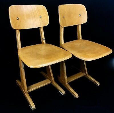Antique Wooden School Chair Pair / Pine / Early 20th Century Furniture / Stool