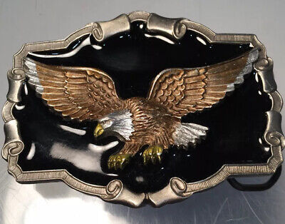 Vintage 1997 GAP Eagle Pewter Belt Buckle Enamel Great American Products USA