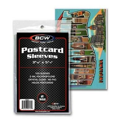 Pack of 100 BCW Postcard Sleeves 3.5 x 5.5 Standard Size Archival Protector