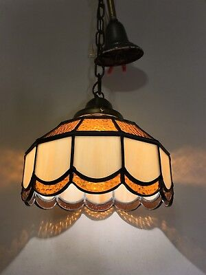VTG Stained Glass Chandelier 1940s Hanging Slag Tiffany Style Light Fixture Old