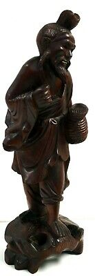 "Antique Hand Carved Wooden Chinese Man - Oriental Asian Decor - Art Deco 4""x10"""