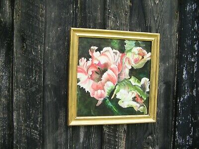 oil painting on canvas of Parrot tulips in gold frame