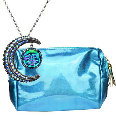 Kirks Folly Seaview Water Moon w/Crescent Moon Pin Pendant Necklace w/Pouch AQUA