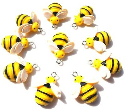 10 Cute 3D Bumble Bees Charms Kawaii With Free Fast P&P
