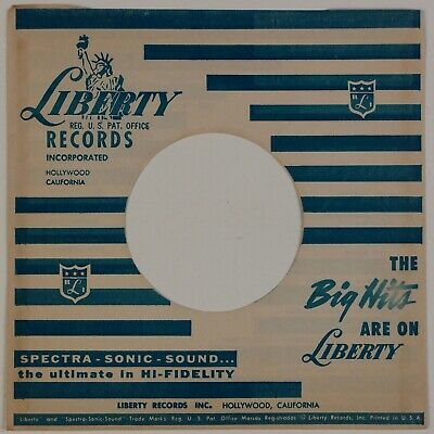 LIBERTY RECORDS: Big Hits Company Sleeve PAIR, LOT OF 2 45 rpm Record Sleeves