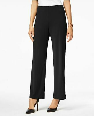 $204 Alfani Women'S Black Mid-Rise Pull-On Styling Wide-Leg Dress Pants Size Xs
