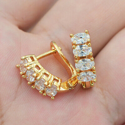18K Yellow Gold Filled Women Clear Oval Mystical Topaz Gems Huggie Earrings