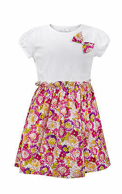 Ex-Chain Store Girls Floral Bow Detail Elasticated Waist Dress Age 1 to 3Years