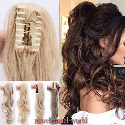 TOP Long Thick Claw Clip In Pony Tail Hair Extensions Ponytail Real As Human UK