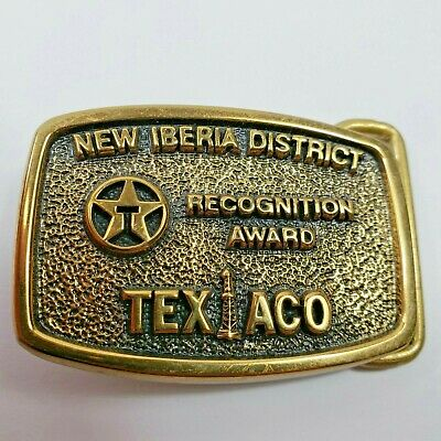 VINTAGE RARE TEXACO BELT BUCKLE 'NEW IBERIA DISTRICT' SOLID BRASS! 1981 BTS a