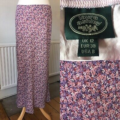 VINTAGE Laura Ashley Pink Purple Ditsy Print Floral Flute Skirt 12 Made in UK