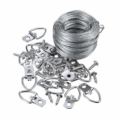 Jovitec Picture Hanging Kit 20 Pieces D-Ring Picture Hangers with Screws, Pic...